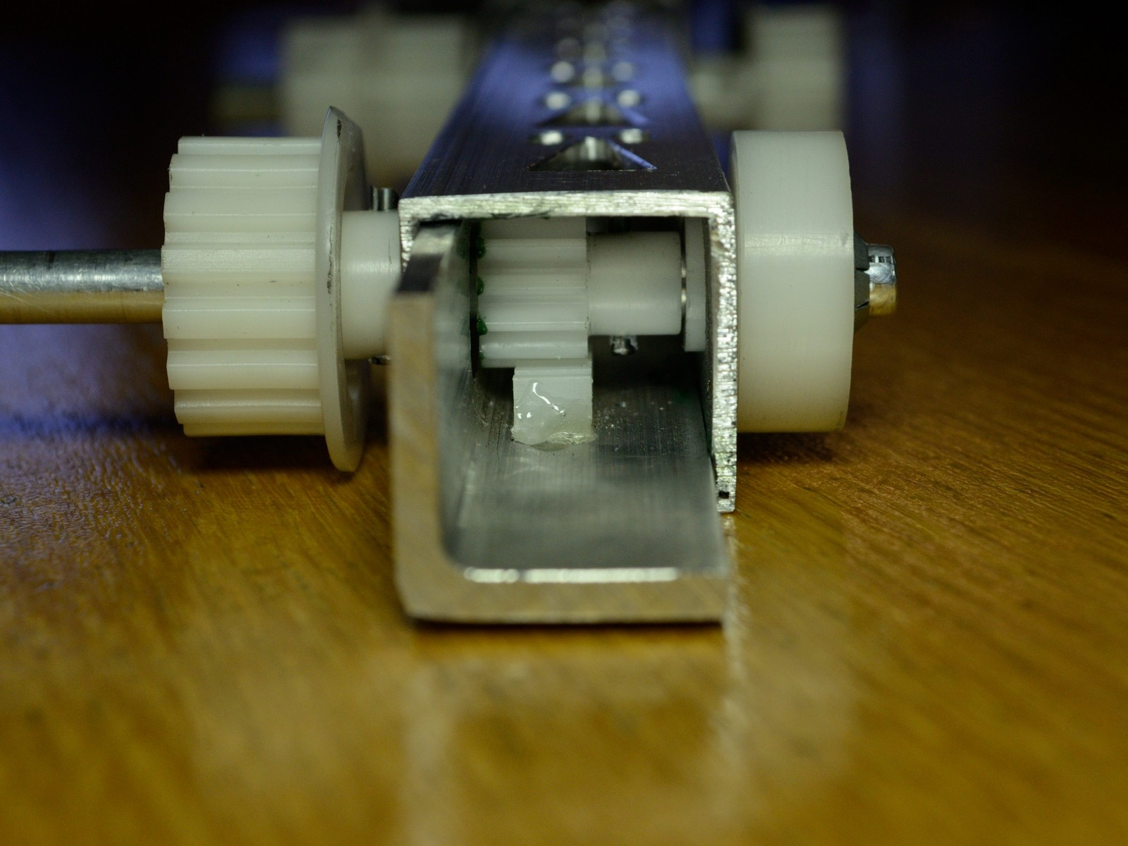 detail photo of linear actuator made by ryan fish at mit