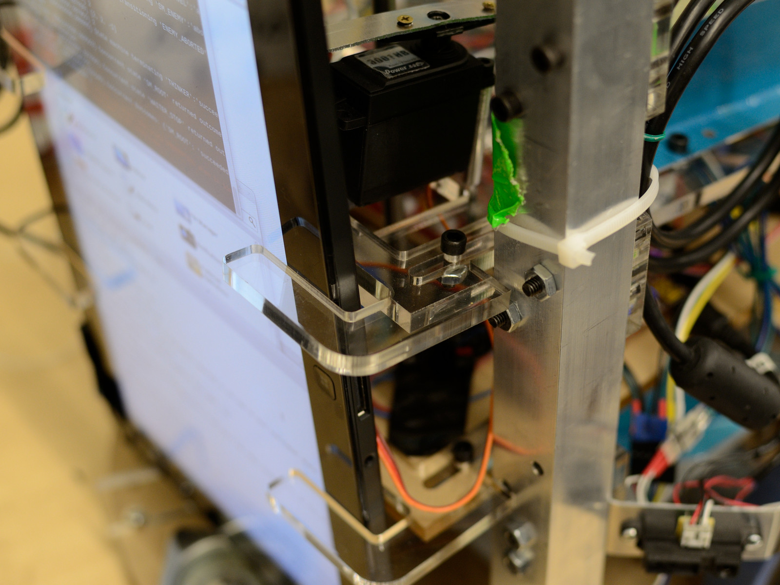 detail of laptop mount and layer lock in maslab 2014 robot