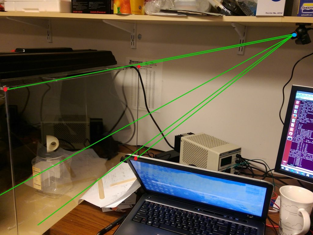 triangulating camera position from known points opencv
